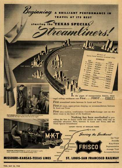 Frisco's Streamliners – Beginning a Brilliant Performance in Travel at its Best starring the Texas Special Streamliners (1948)