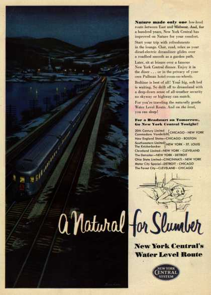 New York Central System's Water Level Route – A Natural for Slumber (1954)