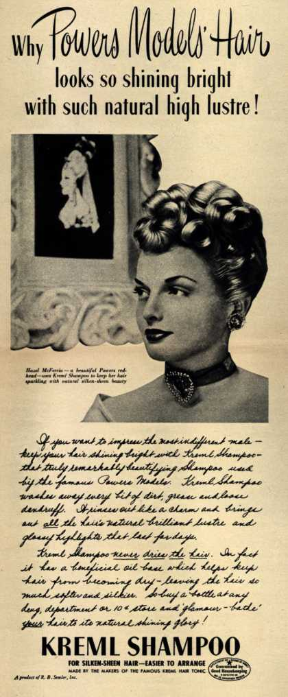 R.B. Semler's shampoo – Why Powers Models' Hair looks so shining bright with such natural high lustre (1946)