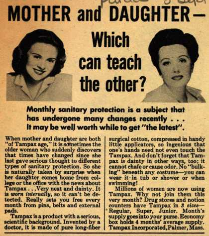 Tampax's Tampons – Mother and Daughter-Which can teach the other? (1944)