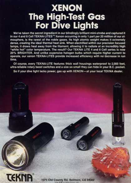 Tekna Scuba Divers Xenon Dive Lights (1984)