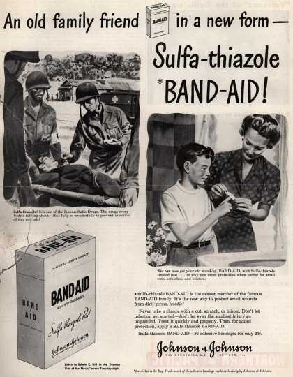 Johnson & Johnson's Sulfa-thiazole Band-Aid – An old family friend in a new form – Sulfa-thiazole Band-Aid (1943)