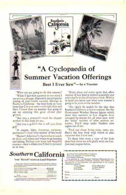Southern California – Cyclopedia of Vacations (1925)