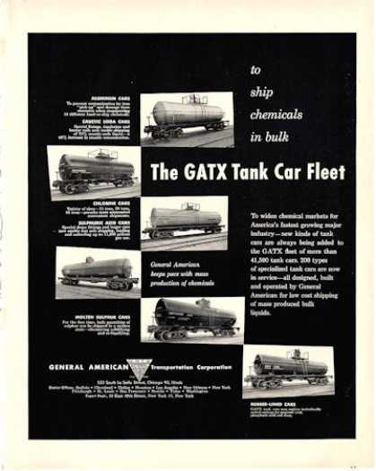 Gatx Tank Car Fleet Railroad Train Cars (1950)