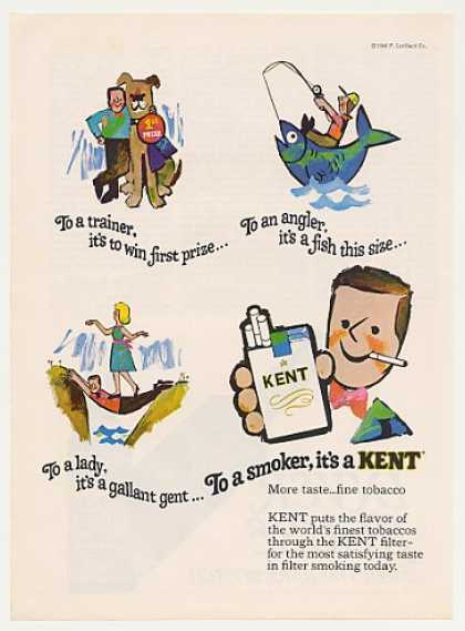Trainer Angler Lady Man Smoker Kent Cigarette (1966)