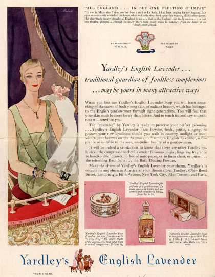 Yardley & Co., Ltd.'s English Lavender – Yardley's English Lavender... traditional guardian of faultless complexions... may be yours in many attractive ways (1929)