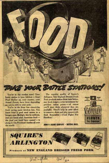 John P. Squire Co.'s Food – Take Your Battle Stations (1945)