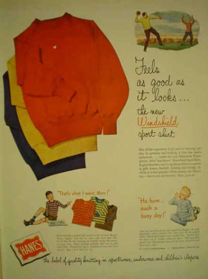 Hanes Windshield Sport Shirt Baby Kid theme (1947)