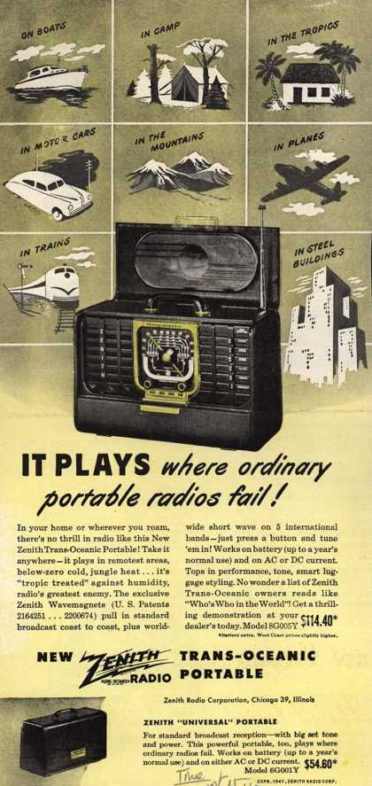 Zenith Radio Corporation's Trans-Oceanic Portable Radio – It plays where ordinary portable radios fail (1947)