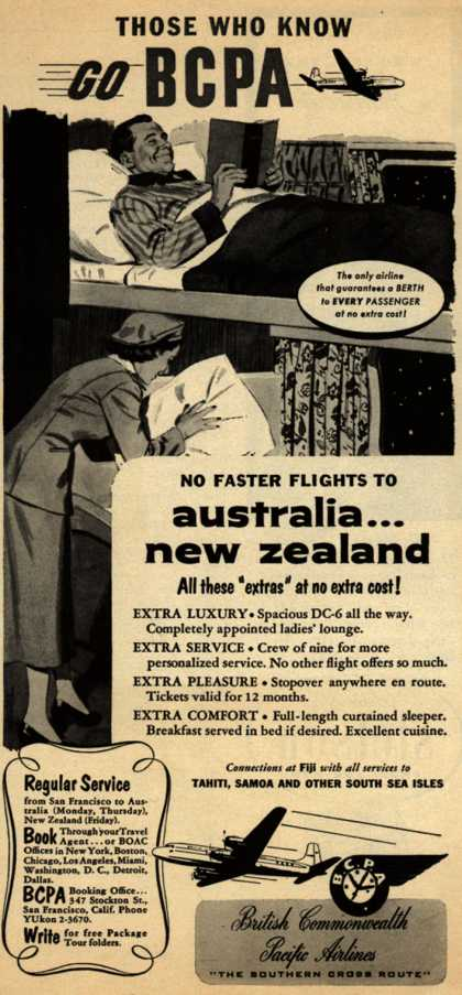 British Commonwealth Pacific Airlines, Limited's Australia and New Zealand – Those Who Know Go BCPA (1953)
