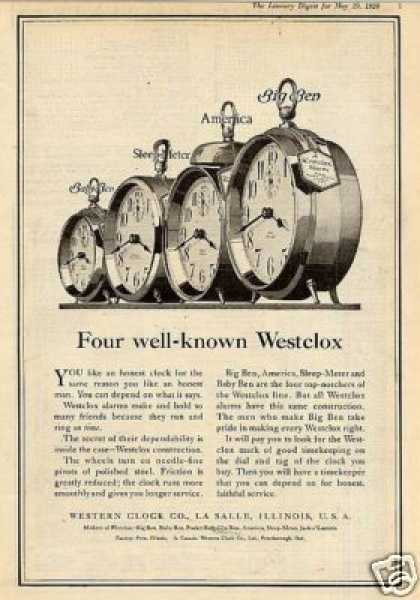 Westlcox Alarm Clocks (1920)