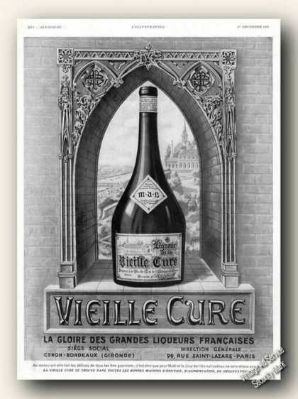 Vieille Cure Liqueur Antique French Language (1934)