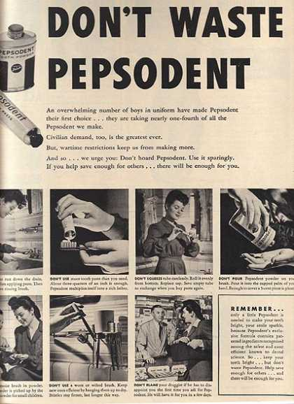 Pepsodent's Tooth Powder and Tooth Paste (1942)