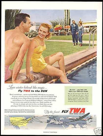 TWA Airlines System Map Skyliner Pool Cactus (1954)