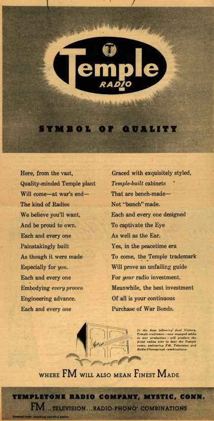 Templetone Radio Company's Radio – Temple Radio: Symbol of Quality (1944)