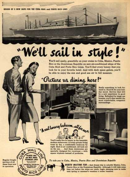 "Cuba Mail Line – ""We'll sail in style!"" (1946)"