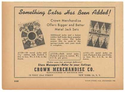Crown Merchandise Metal Jacks Jack Sets Toy (1946)