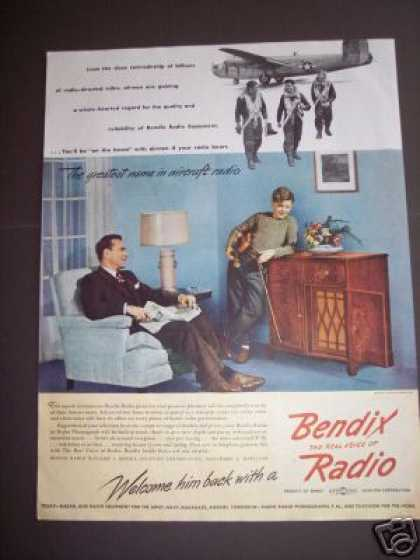 Original Ad Bendix Home / Aircraft Radio War (1945)