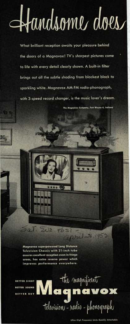 Magnavox Company's Television-Radio-Phonograph combination – Handsome does (1952)