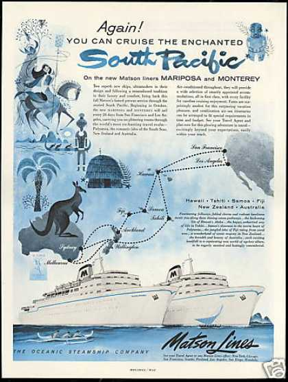 Matson Lines South Pacific Macropsia Monterey (1956)