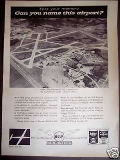 Nashville Berry Field Airport Photo Gulf Oil (1958)