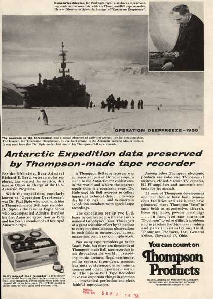 Thompson Products, Incorporated's Tape Recorder – Antarctic Expedition Data Preserved by Thompson-made Tape Recorder (1956)