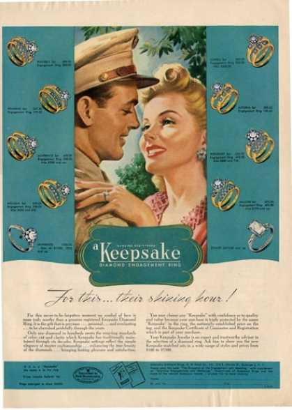 Keepsake Diamond Engagement Ring Wwii Gi Ad T (1945)