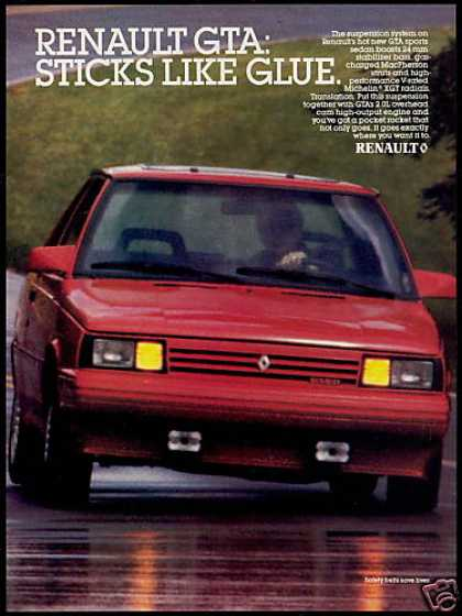 Red Renault GTA Sticks Like Glue Car Photo (1987)
