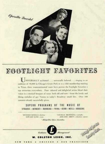Footlight Favorites Operetta Quartet Photos (1947)