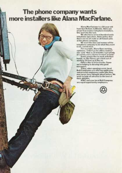 At&amp;t Bell Co. First Female Lineman (1972)