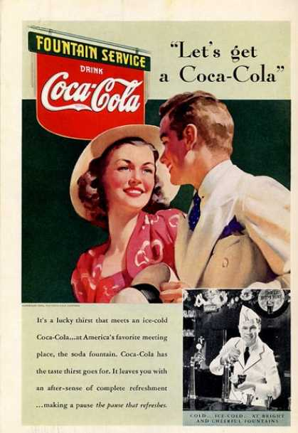 Coke Man and Woman Date Calssic Dress Ad T (1939)
