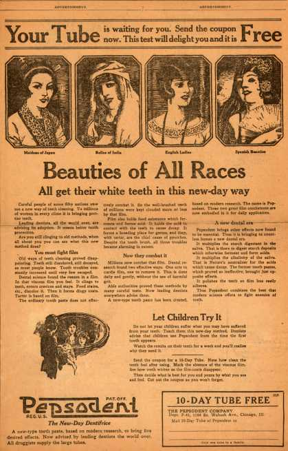 Pepsodent Company's Pepsodent Tooth Paste – Beauties of All Races (1922)