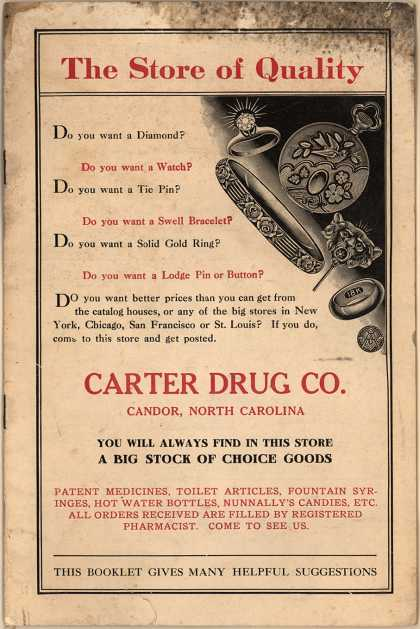 Carter Drug Co.'s various manufacturers of jewelry – Store of Quality