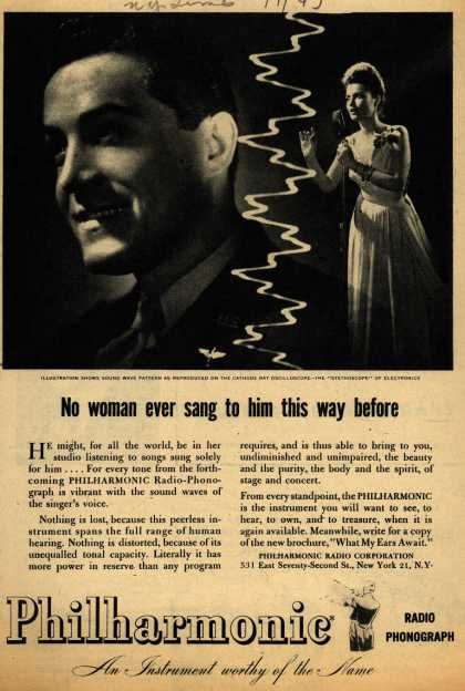 Philharmonic Radio Phonograph's Radio – No Woman Ever Sang to him this Way Before (1945)