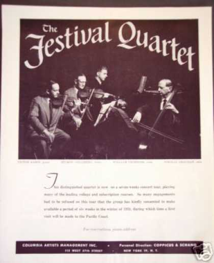 The Festival Quartet Victor Babin, Tour Booking (1957)