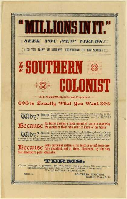 "Southern Colonist – ""Millions in it."" Seek you new fields?"