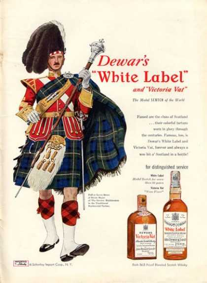 Dewar White Label Whisky Drum Major (1952)