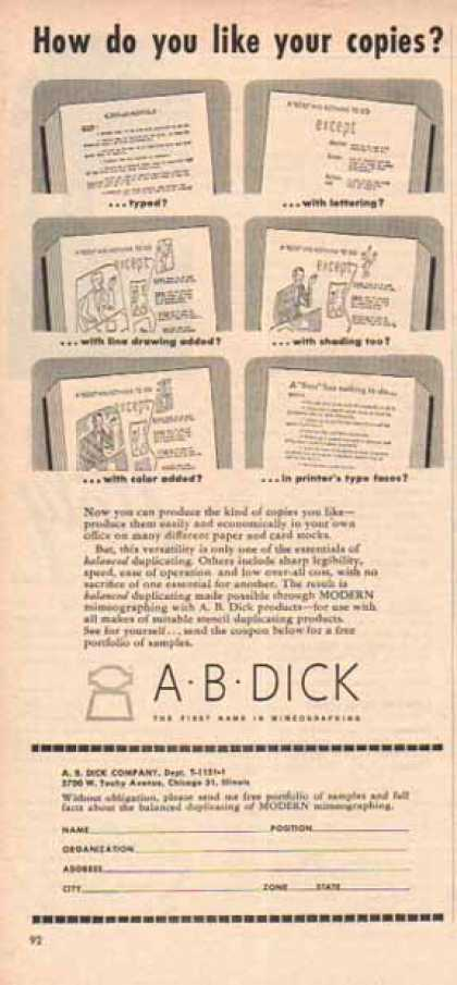 A B Dick Mimeograph &#8211; How Do You Like Your Copies? (1951)