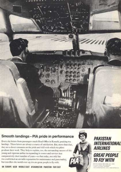 Pia Pakistan Pilot Co-pilot Airlines Cockpit (1966)