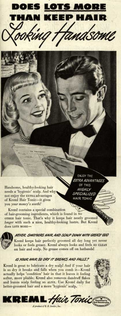 R.B. Semler's hair tonic – Does Lots More Than Keep Hair Looking Handsome (1948)