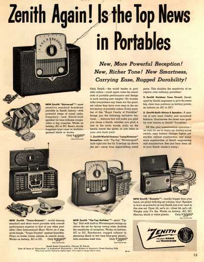 Zenith Radio Corporation's Portable radios – Zenith Again! Is the Top News in Portables (1950)