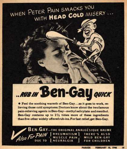Thomas Leeming & Co.'s Ben-Gay – When Peter Pain smacks you with head cold misery... (1946)