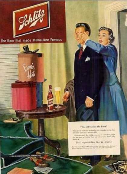 "Schlitz Beer Ad ""This Will Soften the Blow... (1950)"