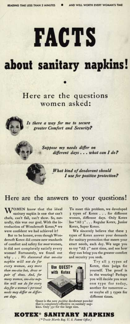 Kotex Company's Wondersoft Kotex – Facts about sanitary napkins (1938)