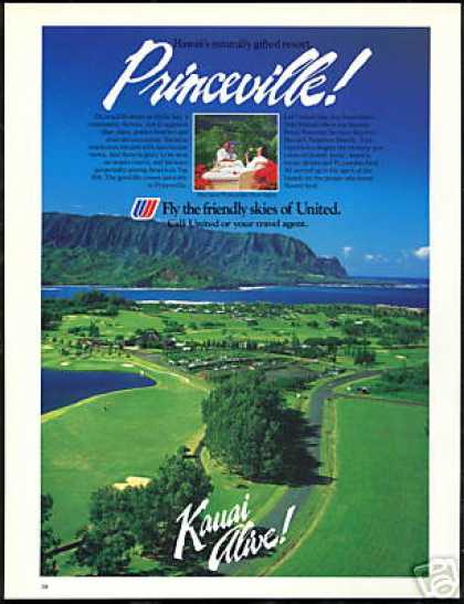 Hawaii Kauai Princeville Resort United Airlines (1985)