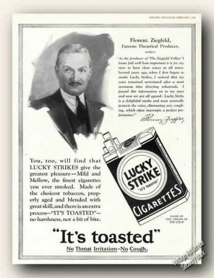 Florenz Ziegfeld Drawing Art Lucky Strike Adv (1928)