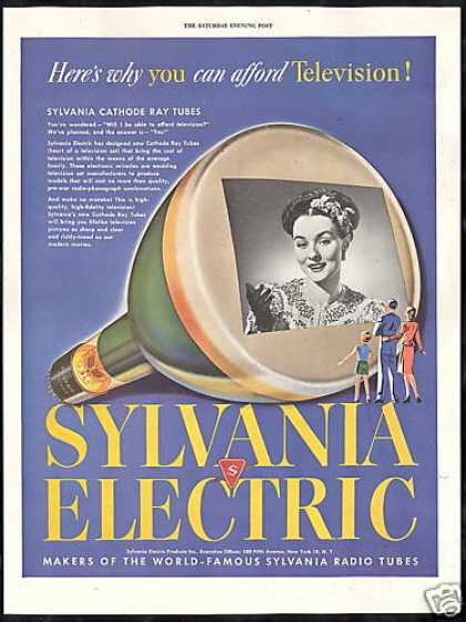 TV Television Sylvania Cathode Ray Tubes (1946)
