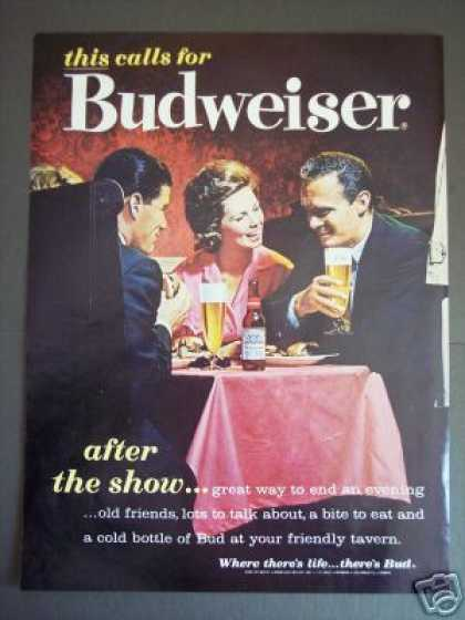 Budweiser Beer Cans After the Show Bar Art (1962)