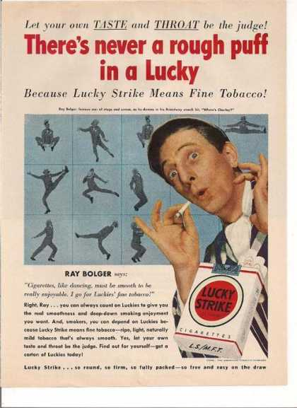 Ray Bolger for Lucky Strike Cigarette (1950)
