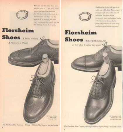 Florsheim Shoes Ads – Wing Tip Styles – Set of Two (1951)